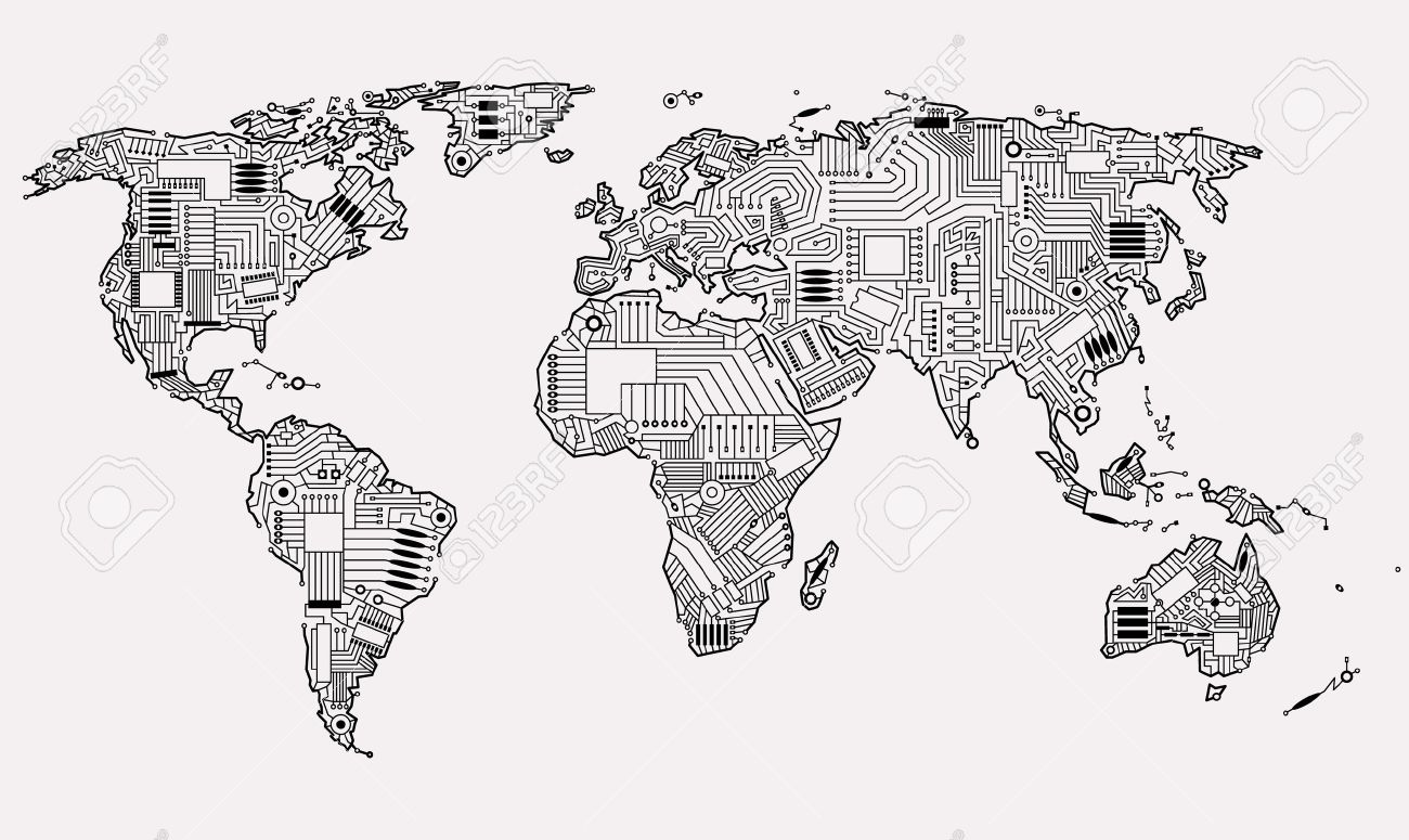 Digital Map Of The World.World Map Technology Style Digital World With Electronic Systems