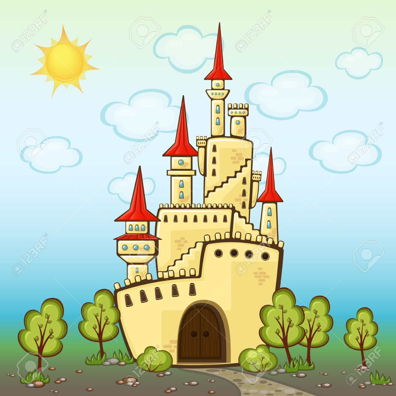Rooms within the home cartoon 187 tinkytyler org stock photos - Castle In Cartoon Style With Sharp Roofs And Towers Children S Background With A Fabulous Palace