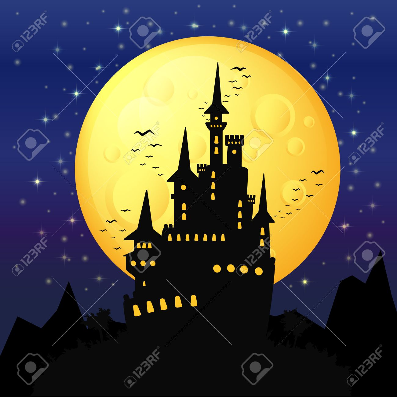 Black Castle On The Background Of The Full Moon, Gloomy Background ...