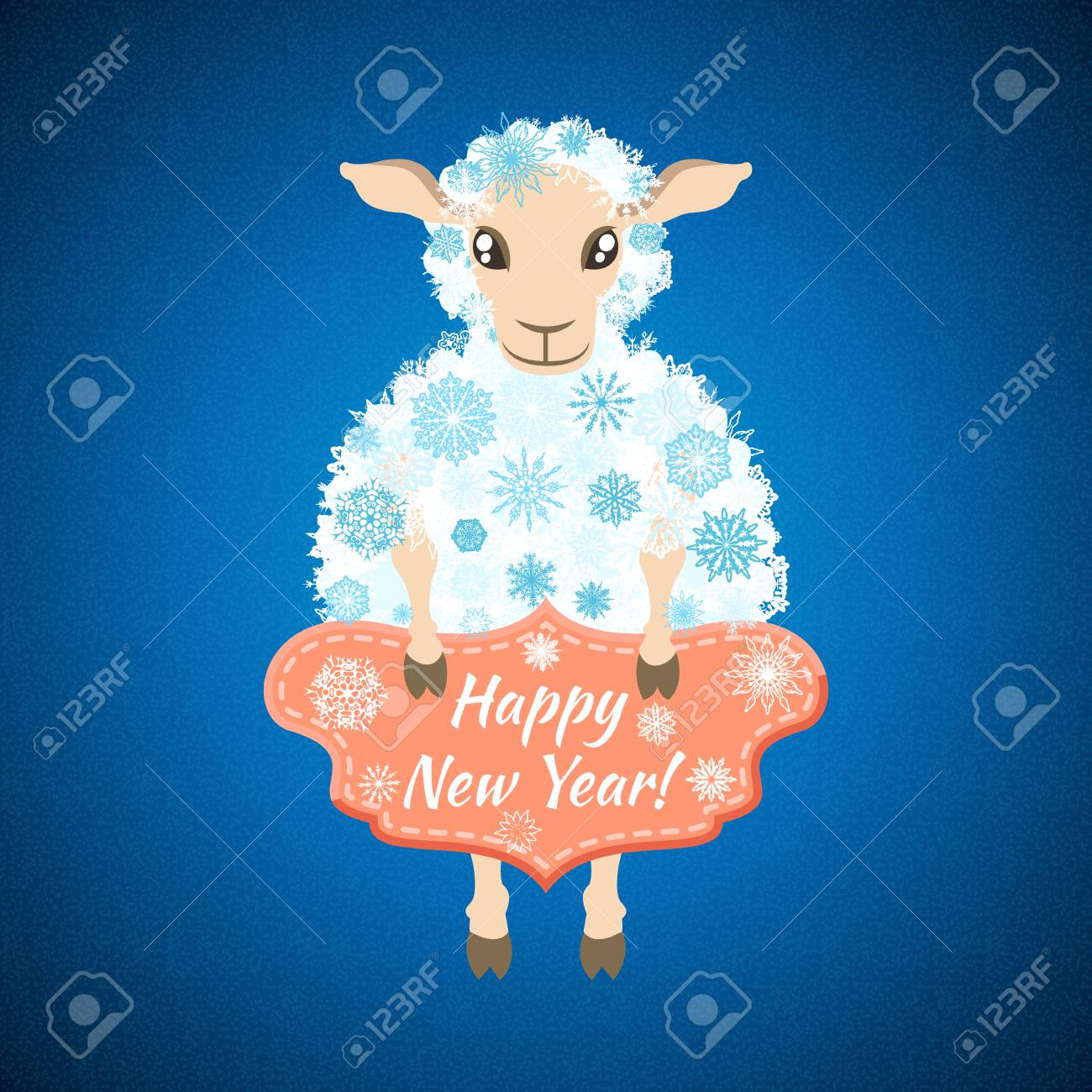 christmas background with sheep which is holding a plate with the words happy new year