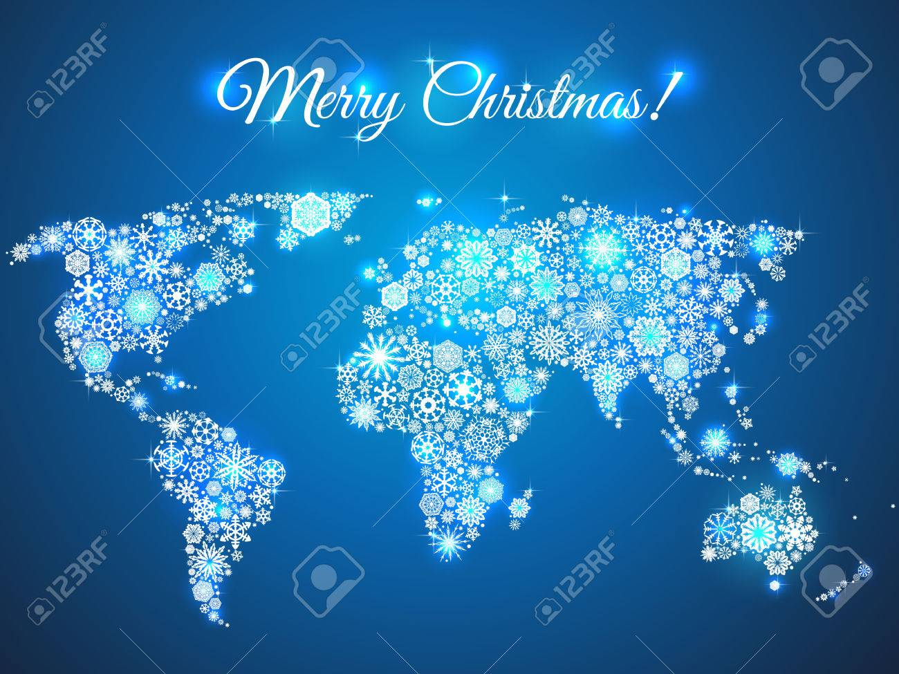 snowflakes world map for the new year, greeting card on blue background - 33487606