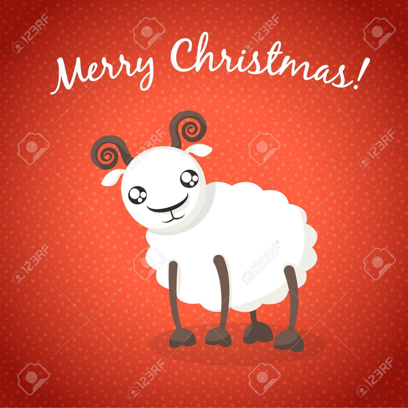 christmas background with sheep cute sheep on new year card stock vector 33726418
