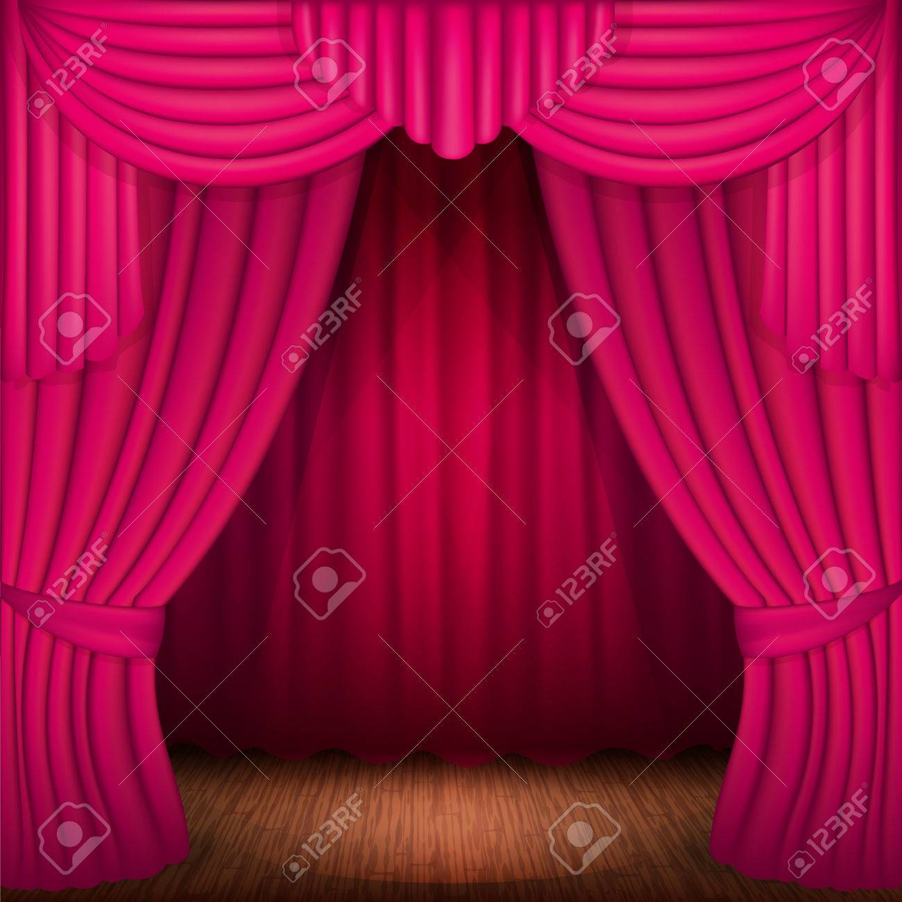lighting curtains. Scene With Pink Curtains, Curtain Velvet Drapes And Accent Lighting Stock Vector - 41257816 Curtains