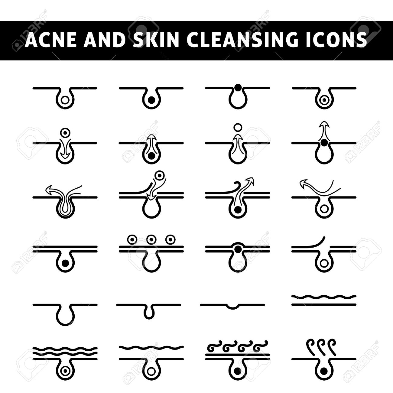 Black And White Icon Acne, Schematic View Of A Skin Care, Problem ...