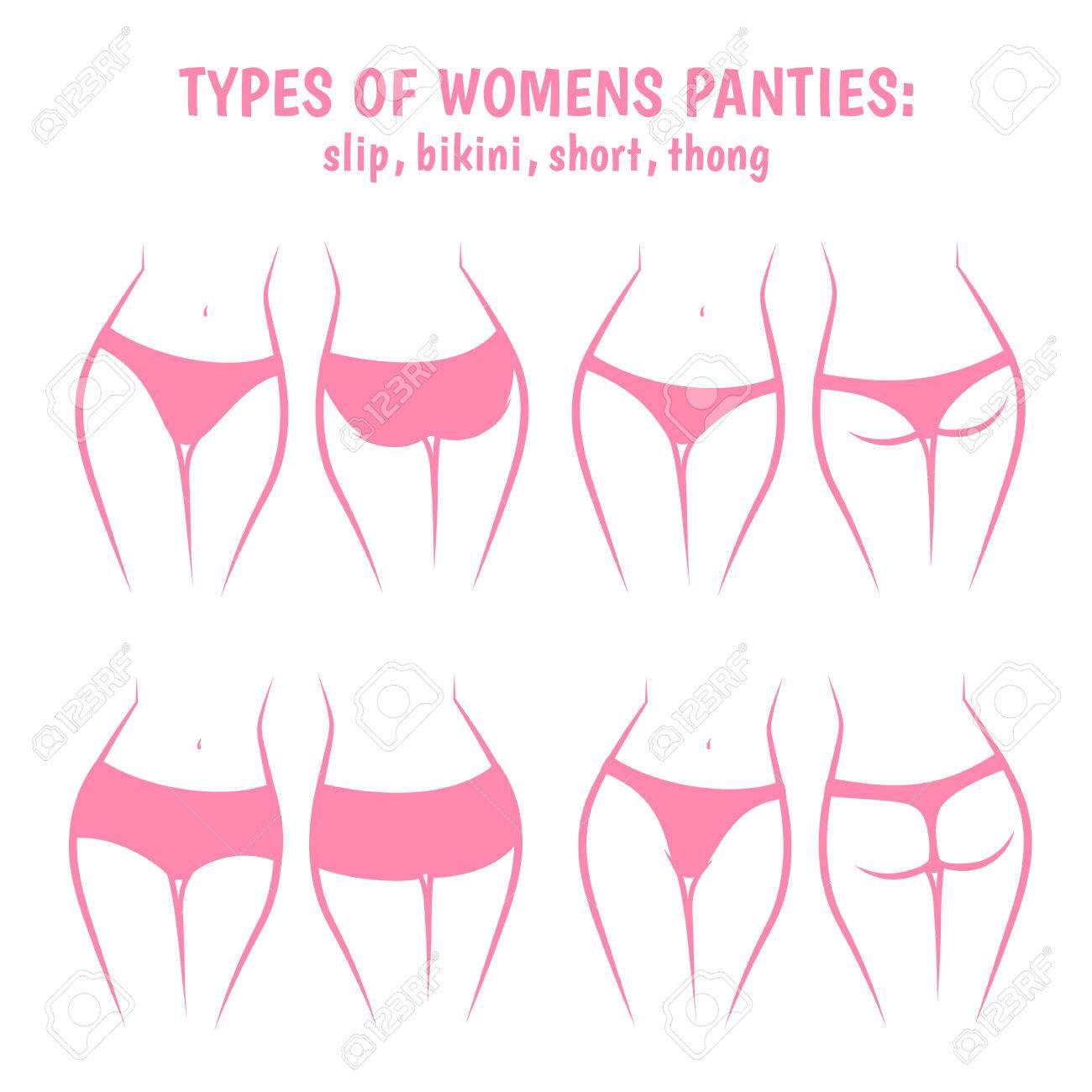 Various women panties, underpants views front and rear - 51630076