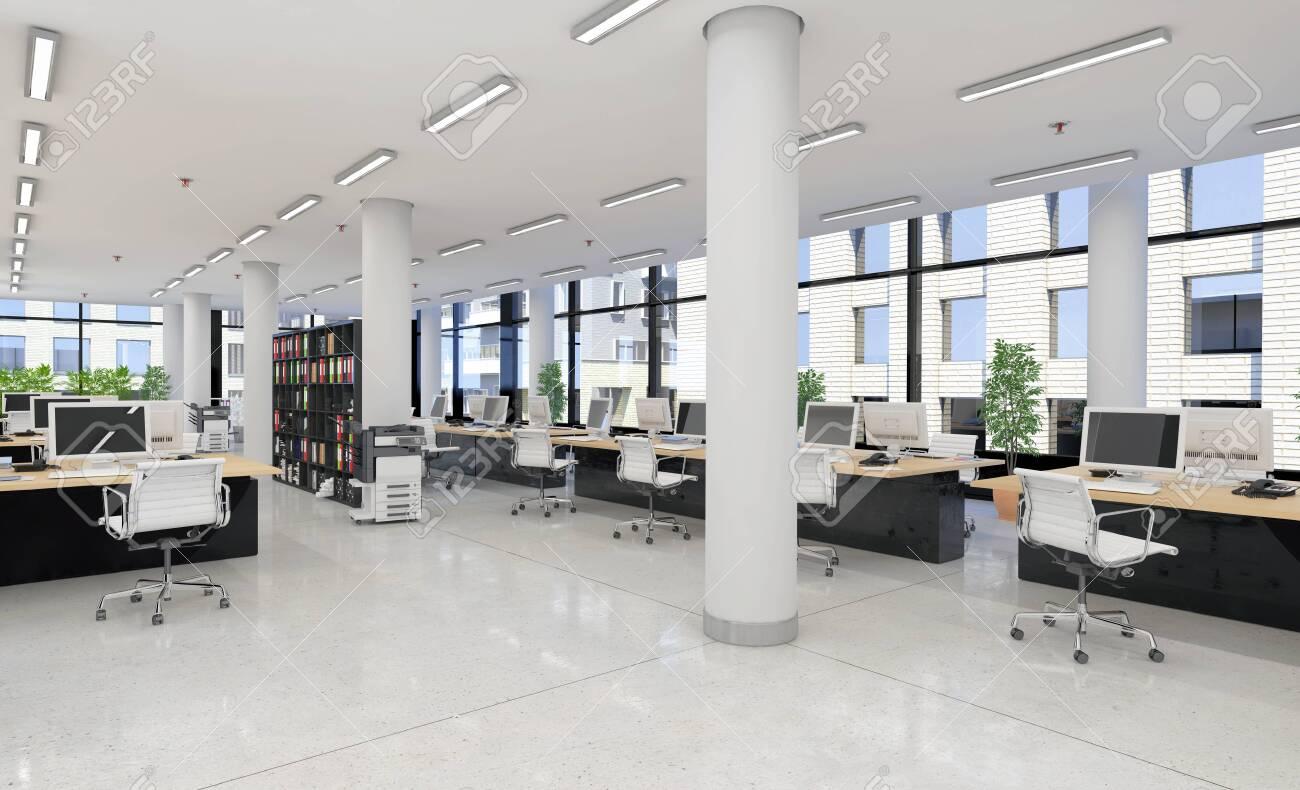 3d render - open plan office - office building - modern architecture. - 143493743