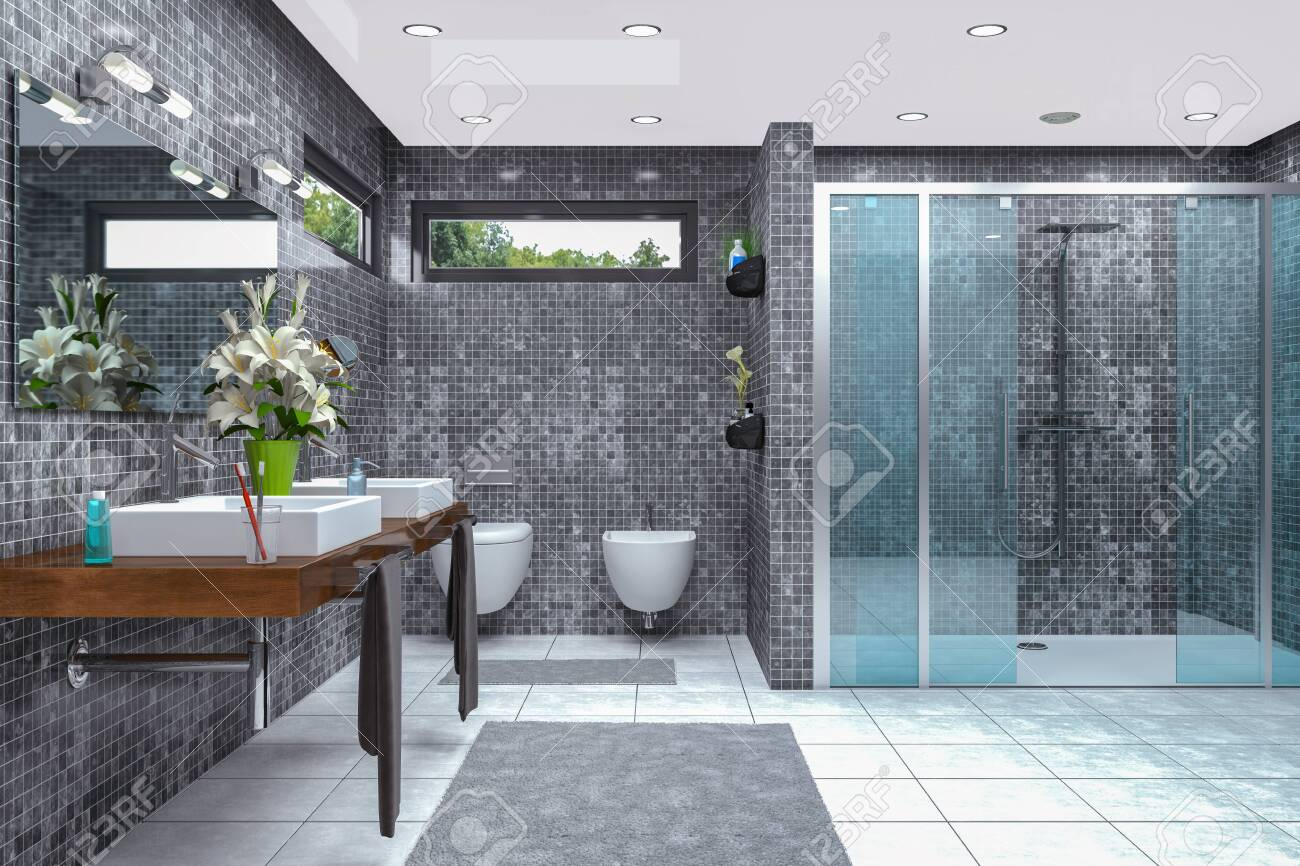 3d render of a modern bathroom in white and black with shower, bathtub, toilet, bidet and two washbasins with a large mirror. - 143780325