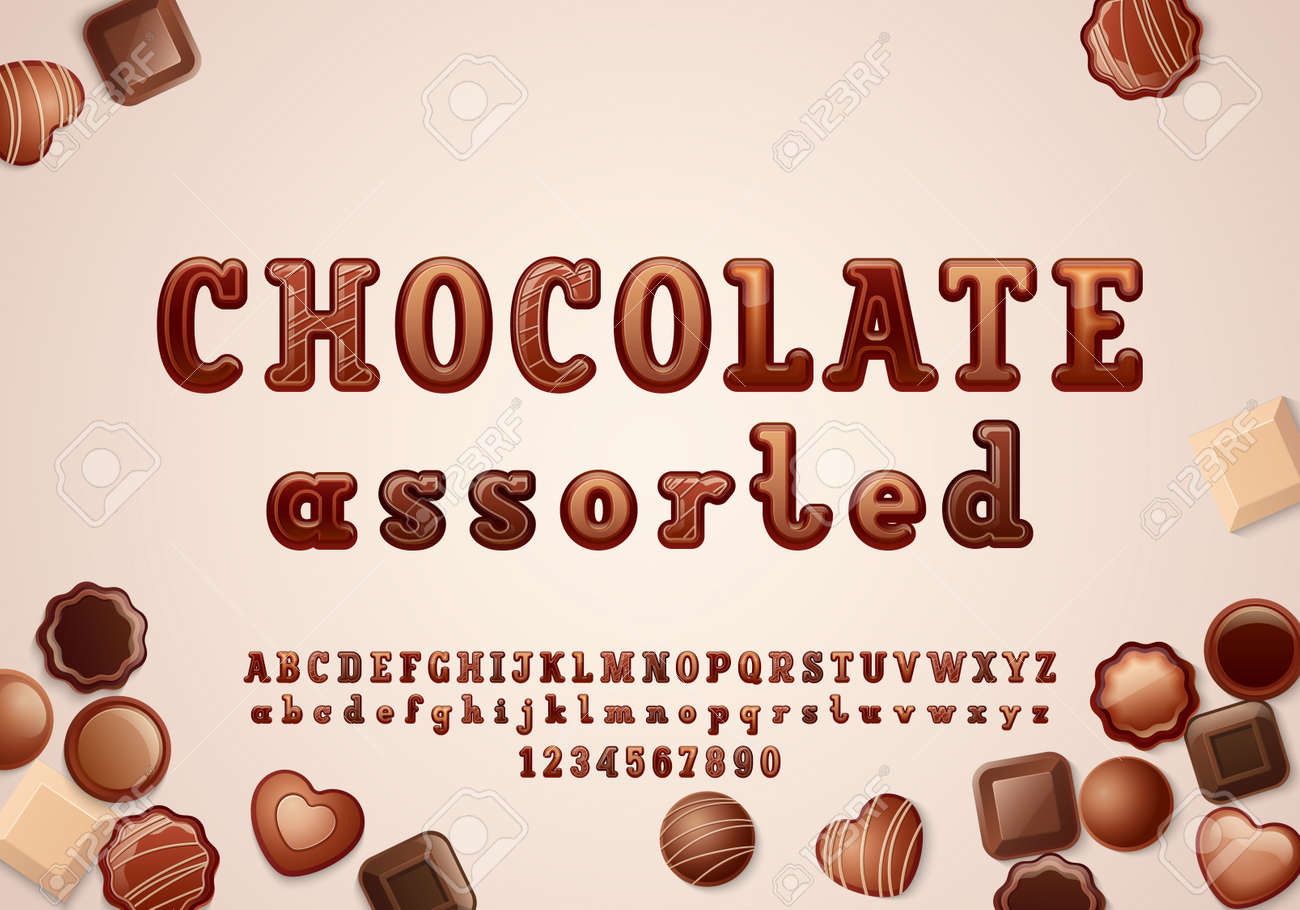 Original 3d font in the chocolate style, rounded alphabet slab serif, uppercase and lowercase letters from A to Z and numbers from to 9, vector illustration 10EPS - 168654111
