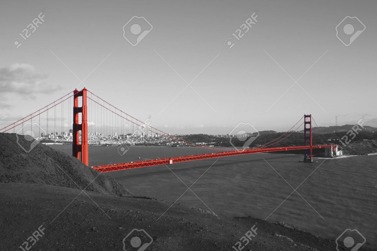 Red Golden Gate Bridge With San Francisco In Background In Black