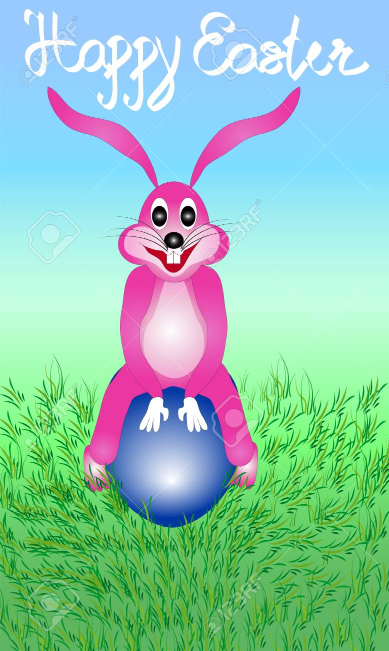 Illustration Of Easter Bunny Rabbit Sitting On The Egg With The