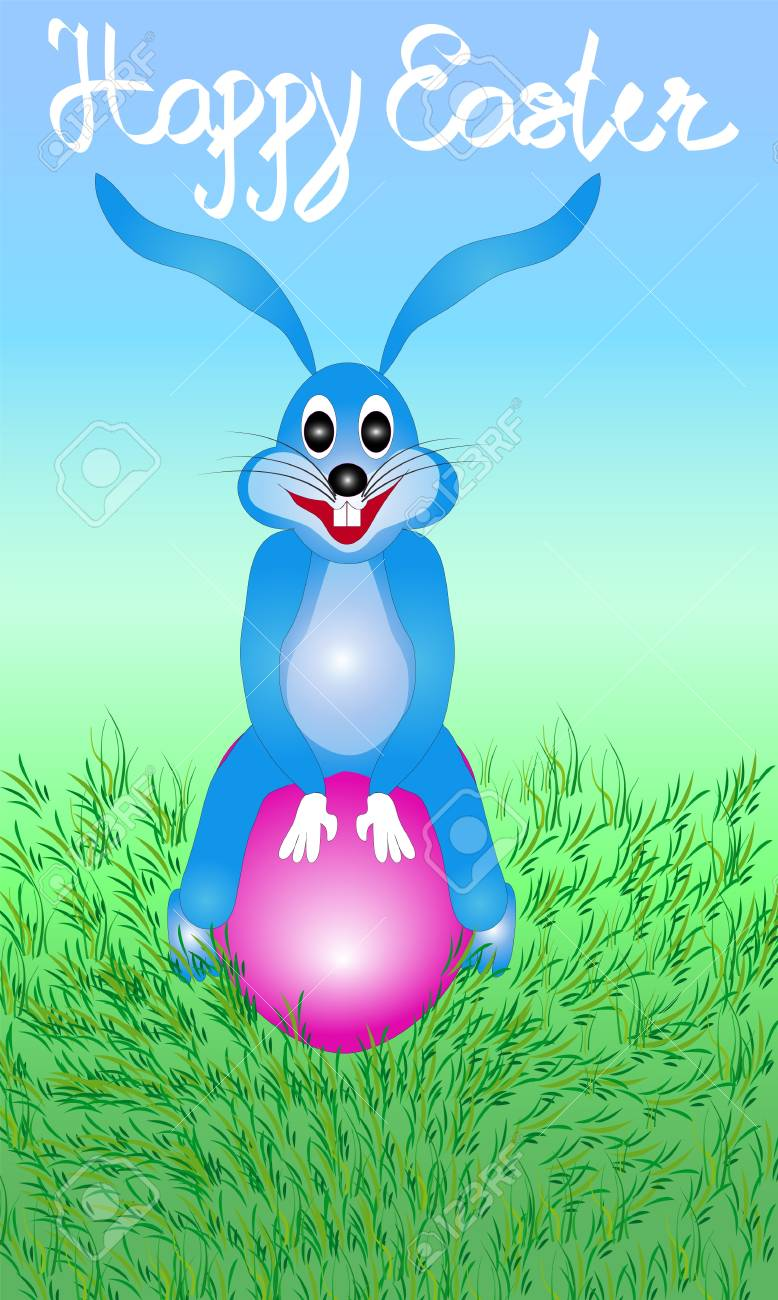 Illustration of easter bunny rabbit sitting on the egg with the illustration illustration of easter bunny rabbit sitting on the egg with the words happy easter greeting cards are suitable for a variety of printing for m4hsunfo