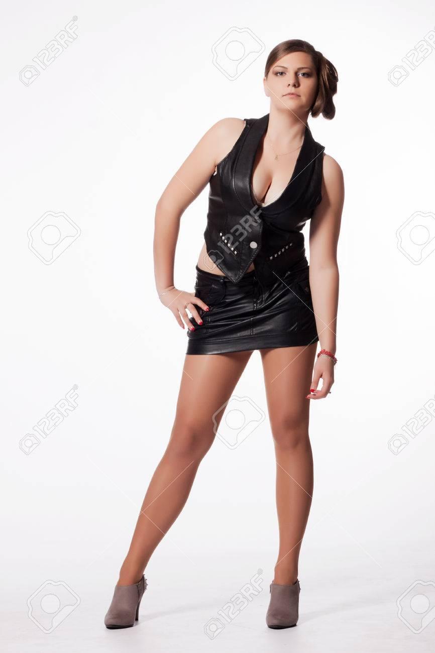 Junge Frau In Lederjacke Minirock High Heels Mit