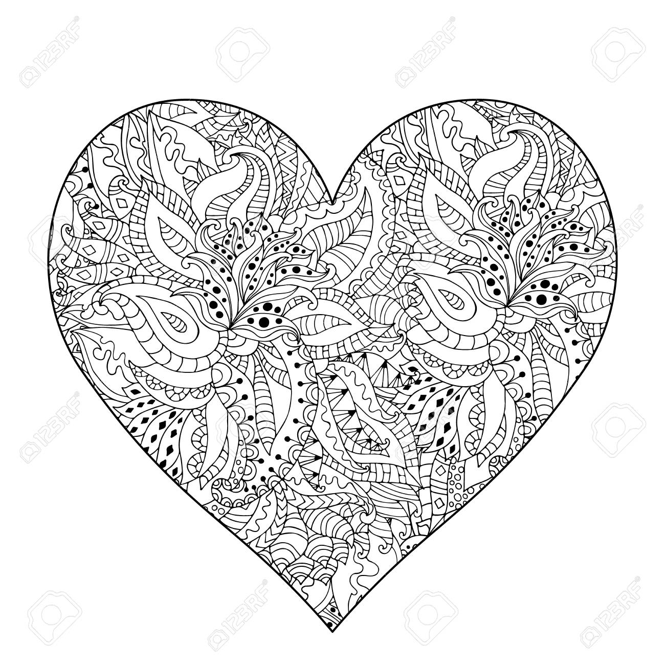 - Hand Drawn Flower Heart For Adult Anti Stress. Coloring Page