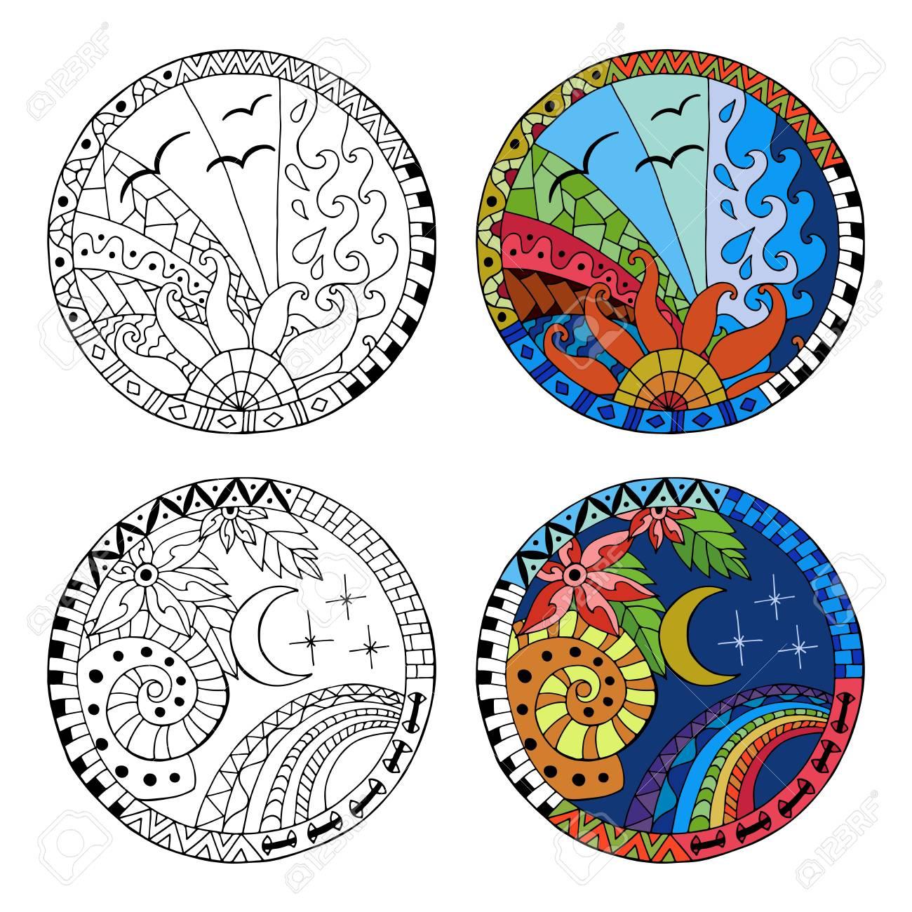 Dibujado A Mano El Día Y Los Mandalas Del Círculo De La Noche Para El Estrés Anti Estrés Colorear Elemento Para Colorear Hecho Por El Patrón De