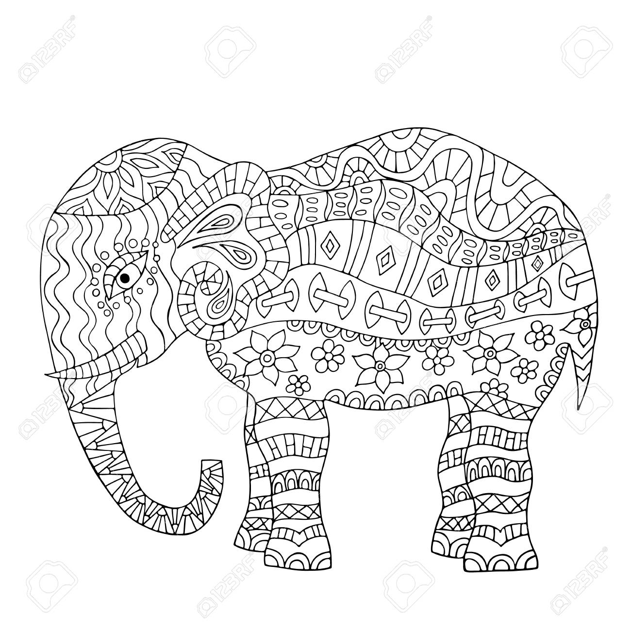 - Hand Drawn Elephant Coloring Page. Coloring Book Page For Adults