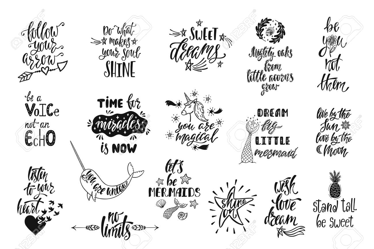 Set of positive inspirational quotes. Magical calligraphy hand..
