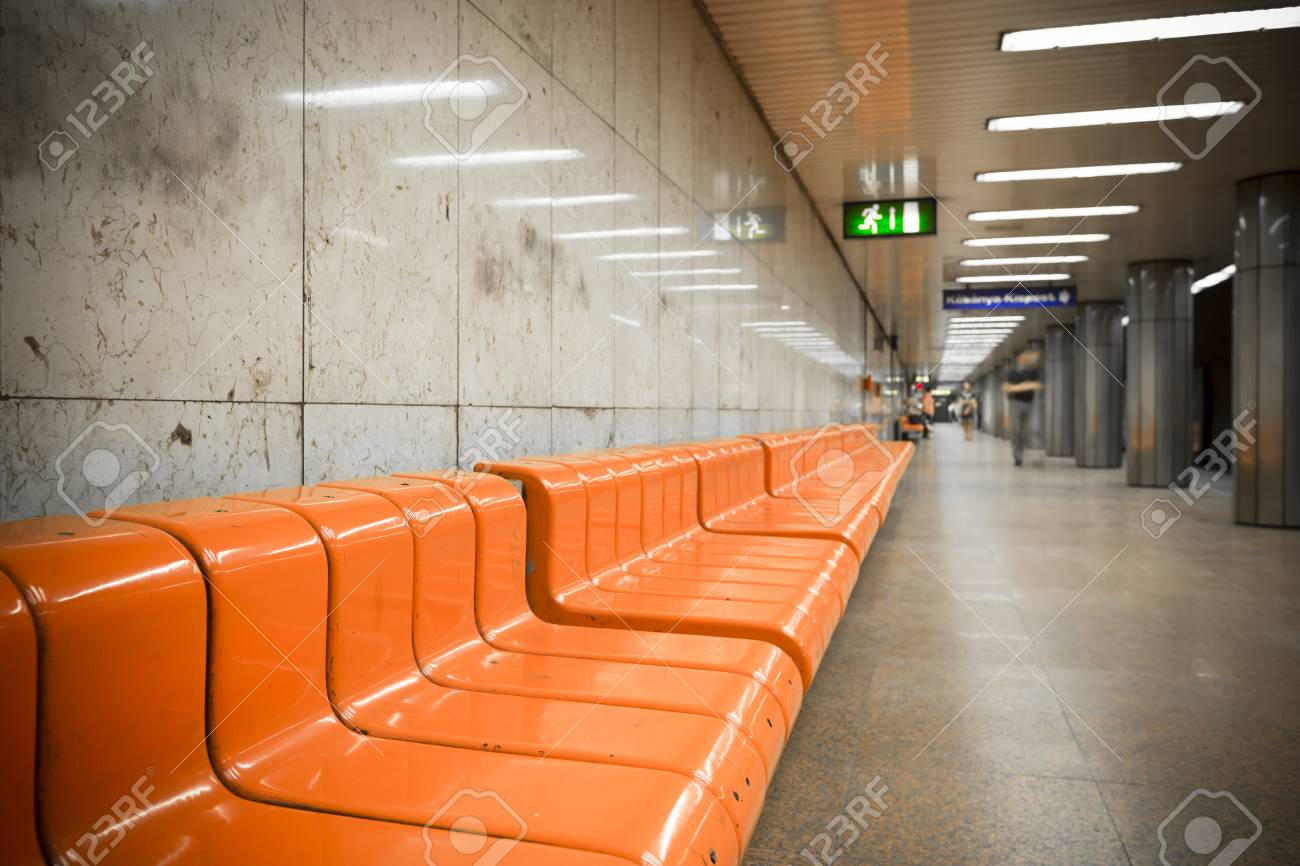 subway station, plastic chairs Stock Photo - 29755737