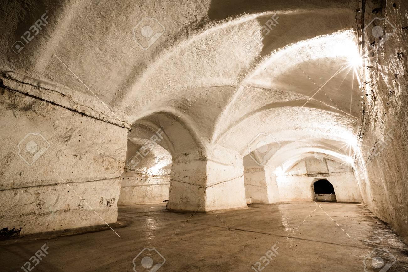an old abandoned limestone mine corridors, poor light Stock Photo - 29720820