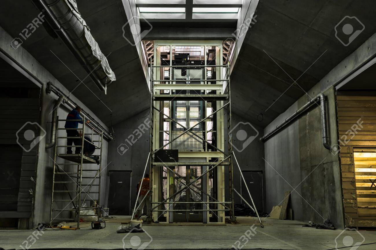 Elevator Under Construction A Metro In A Underpass Stock Photo