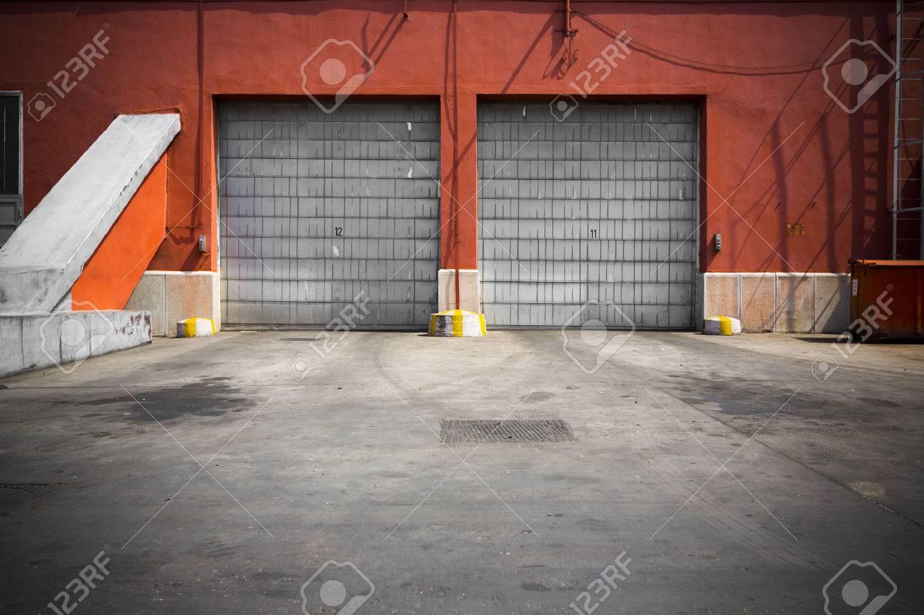 An Old Industrial Building Metal Garage Door Stock Photo   39813497