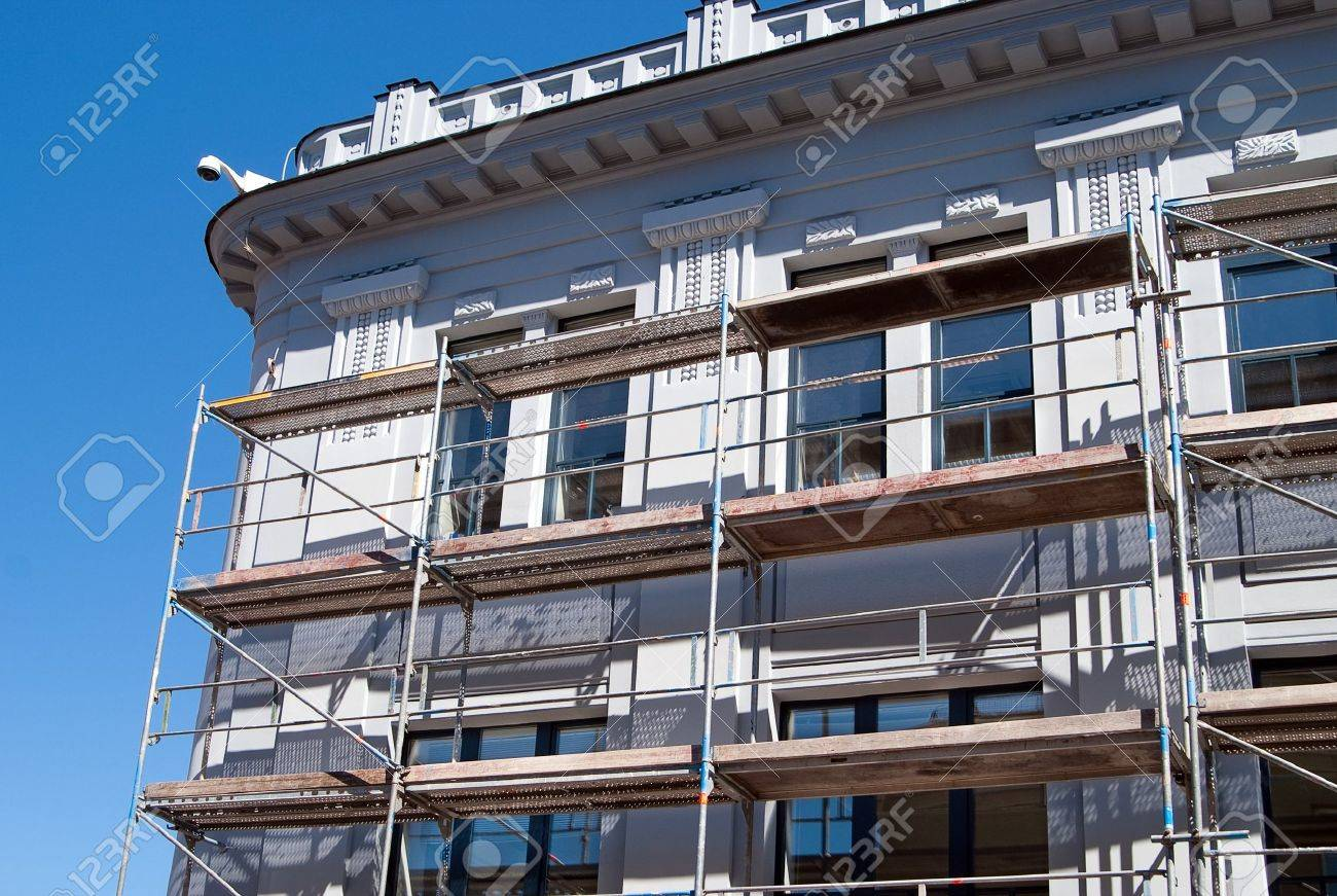 The scaffolding near a facade of a building for restoration Stock Photo - 7280640