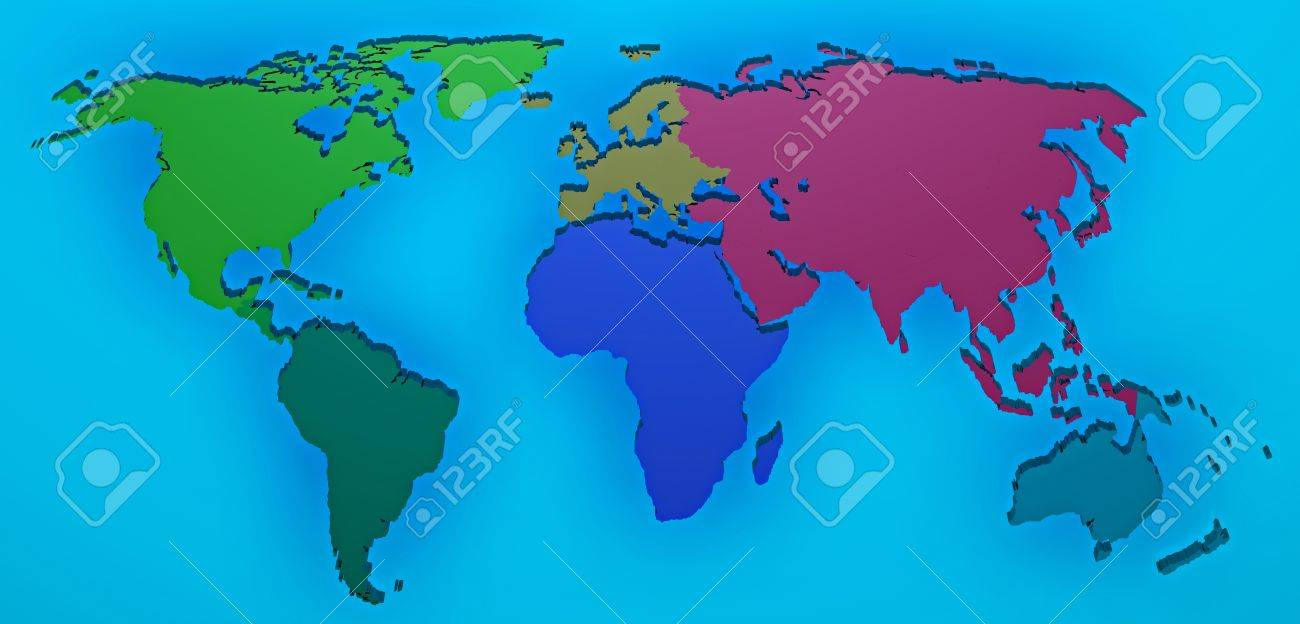 World map 3d render with the different continents separated stock stock photo world map 3d render with the different continents separated gumiabroncs Gallery