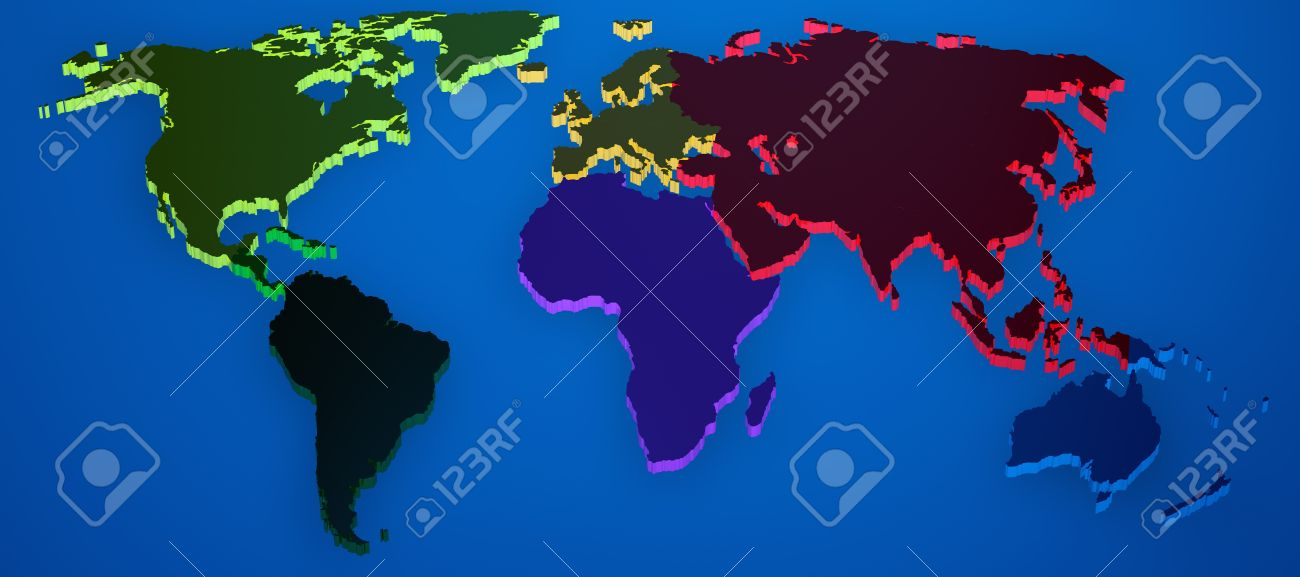 World map render 3d with continents separated by colors stock world map render 3d with continents separated by colors stock photo 9556856 gumiabroncs Images