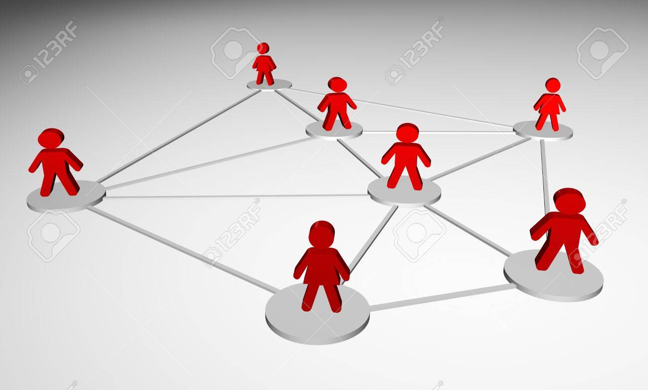 Illustration 3D rendered of the concept of people connected Stock Illustration - 9604790