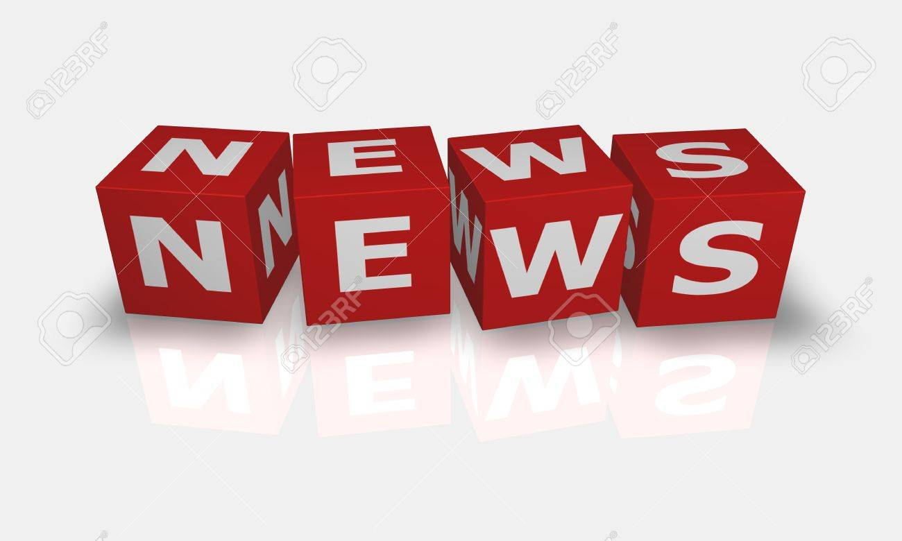Cube word News in white and red Stock Photo - 9759216