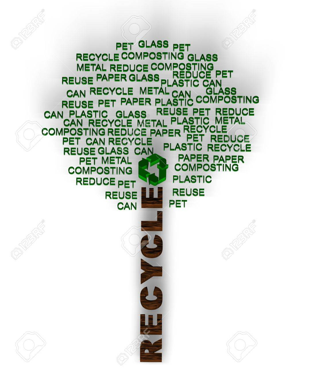 Recycle words related including paper, glass, metal, reuse, reduce and others. Stock Photo - 10034887