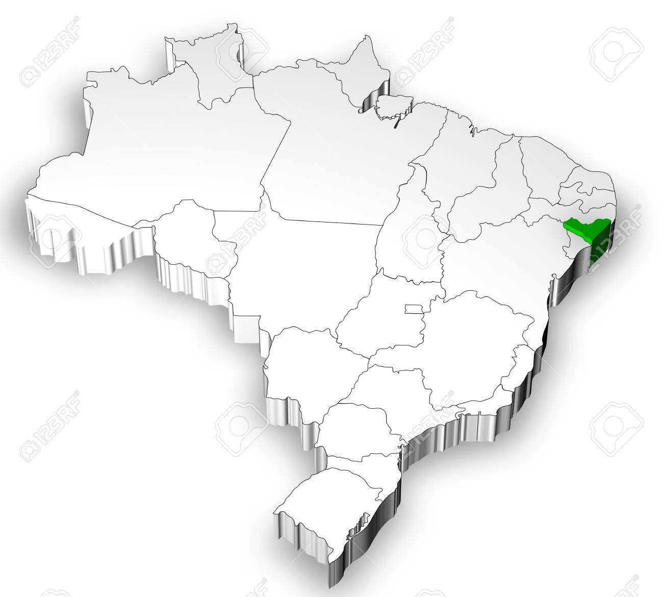 Brazilian Map With States Separated And Highlight In Alagoas Stock