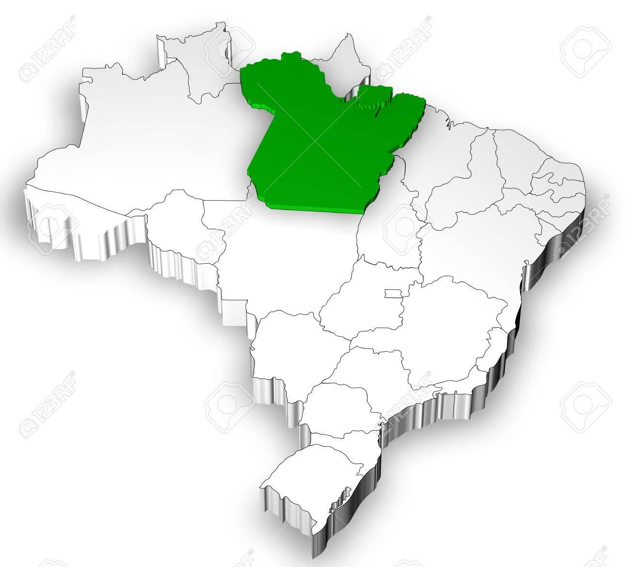 Mapa De Brasil Con Los Estados Separados Y Poner De Relieve En El ...