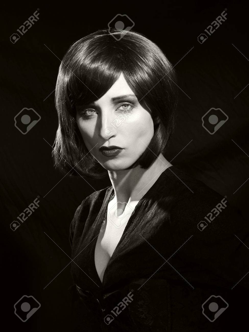 A black and white classic hollywood style glamour portrait from