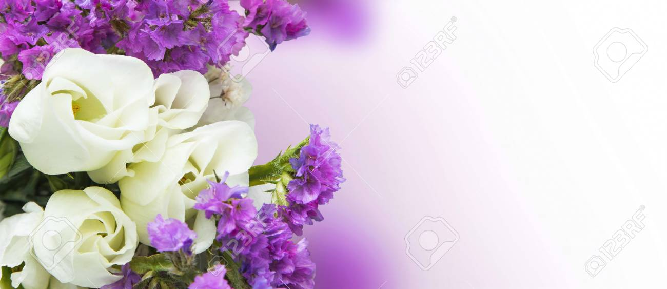 White roses with purple flowers bouquet spring blossom bouquet stock photo white roses with purple flowers bouquet spring blossom bouquet mightylinksfo