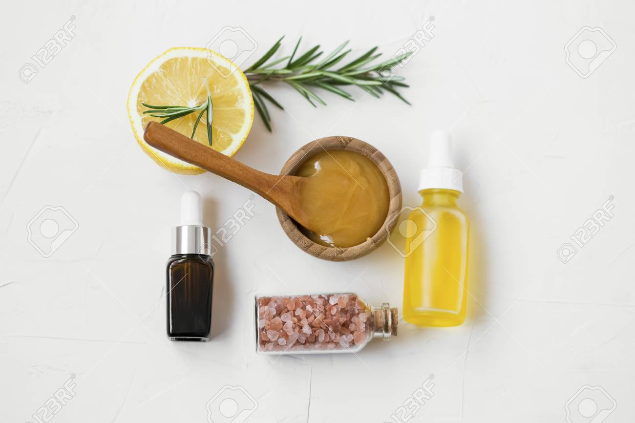 Organic Skincare Ingredients With Manuka Honey Oils Bath Salts Stock Photo Picture And Royalty Free Image Image 118387014