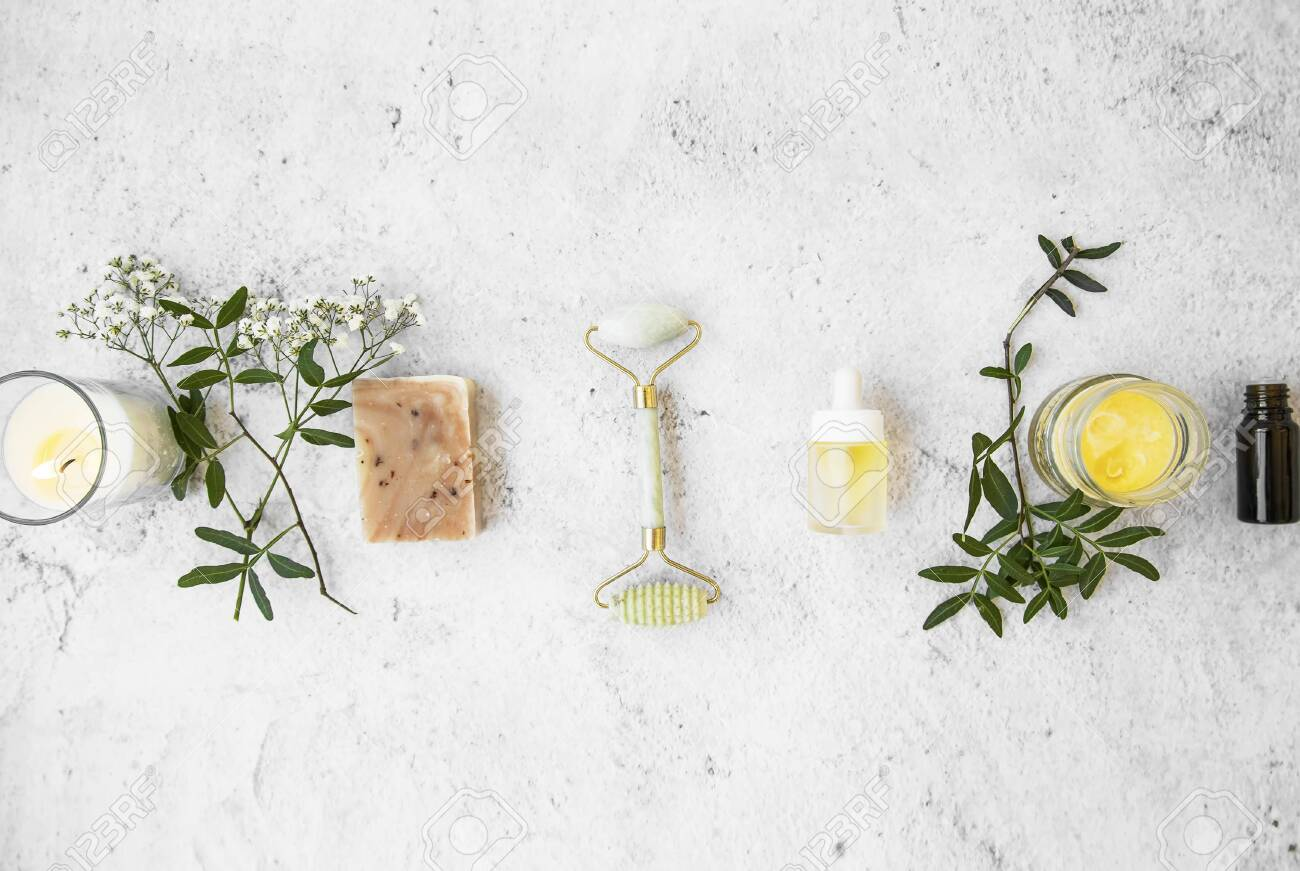 Natural Organic Skincare Products On Concrete Background Top Stock Photo Picture And Royalty Free Image Image 121700299