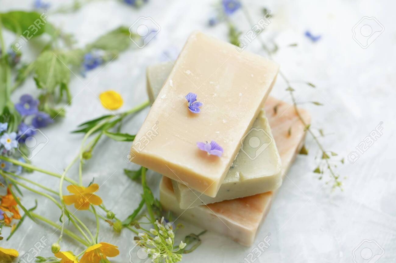 Natural handmade soap bars with organic medicinal plants and