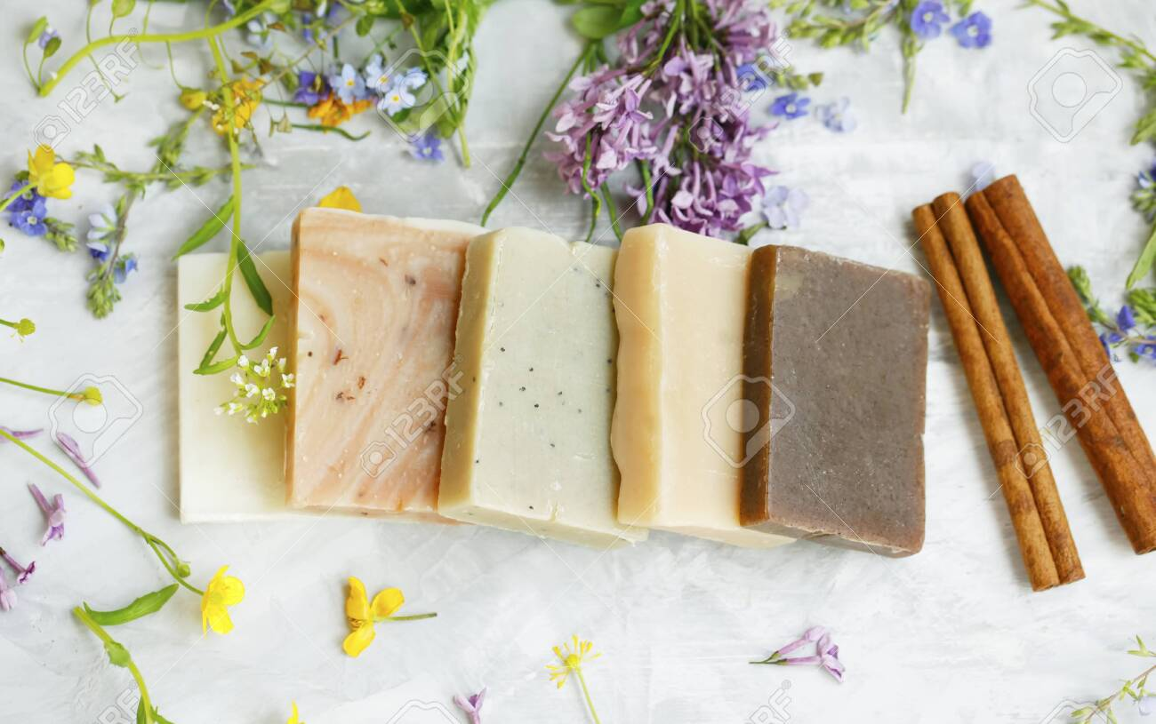 Natural handmade soap bars with organic medicinal plants, cinnamon