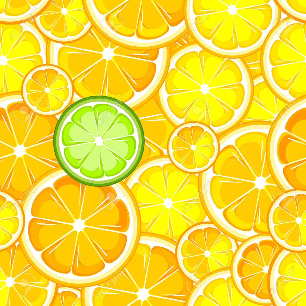 ベリー フルーツ熟したレモンとライムのシームレスな壁紙のイラスト素材 ベクタ Image