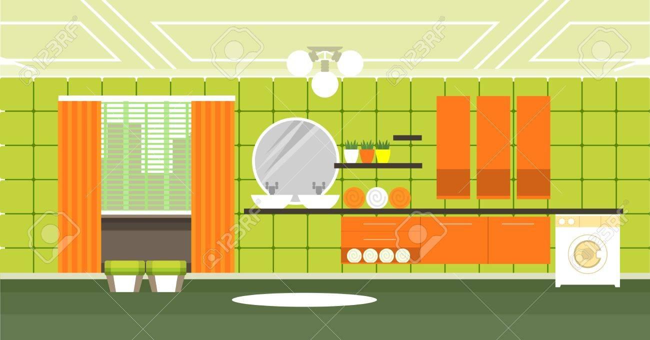 Ein Bad Mit Pflegeprodukten Und Einrichtungsgegenstände In Der