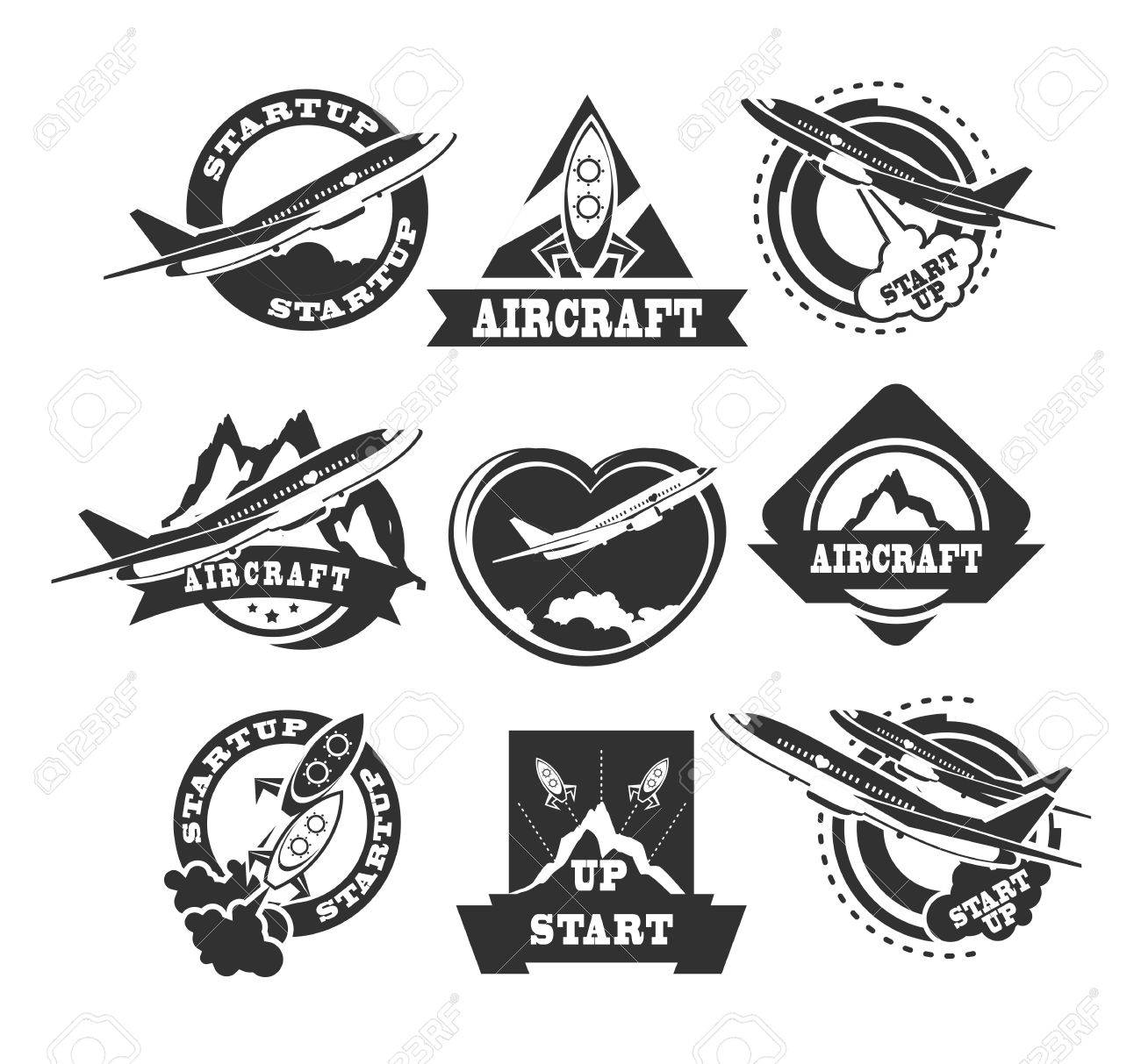 Set Of Aircraft And Air Transportation Vector Labels. Templates ...