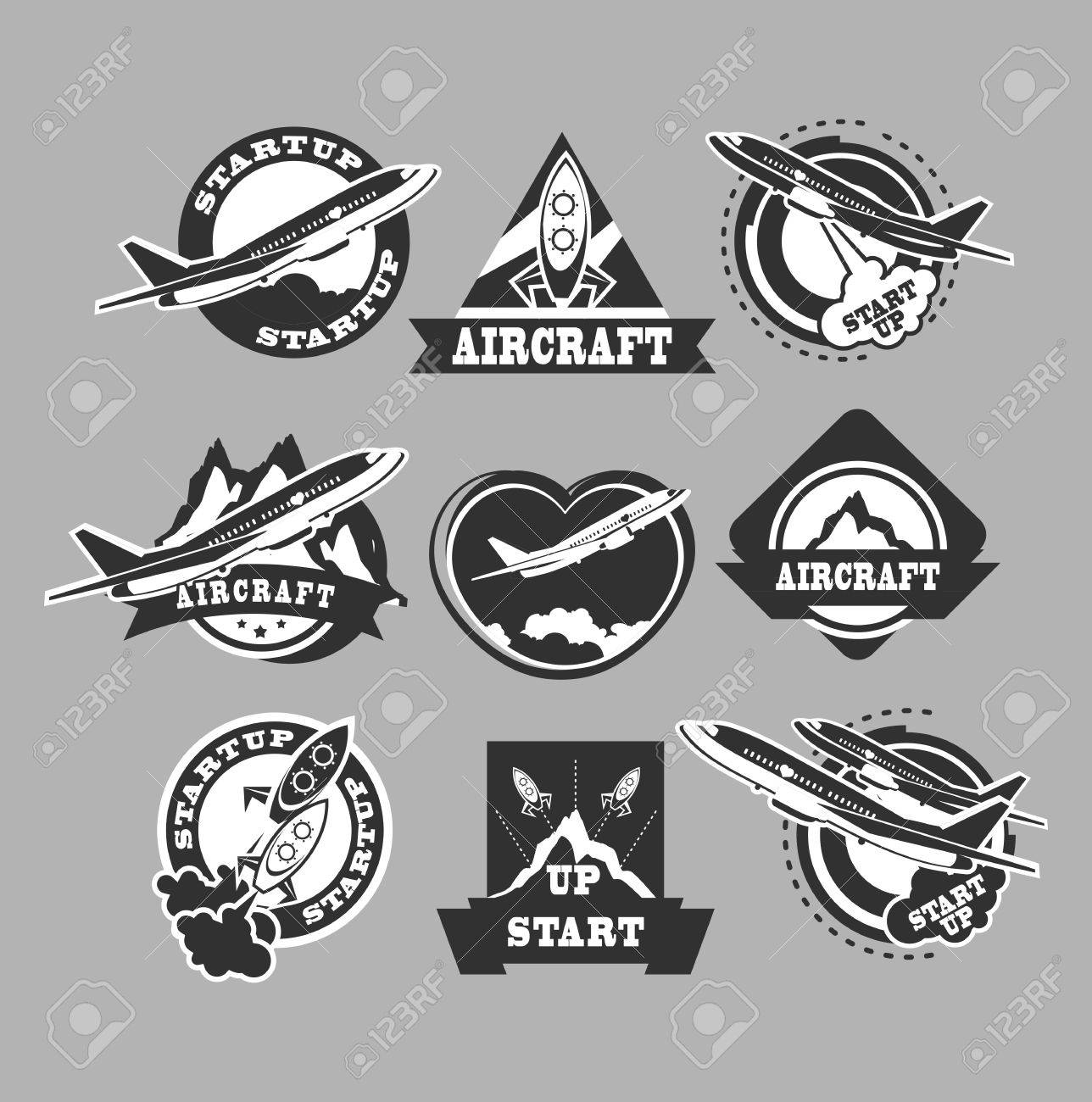 航空機および空気の交通ベクトルの黒 labels templates badges emblems