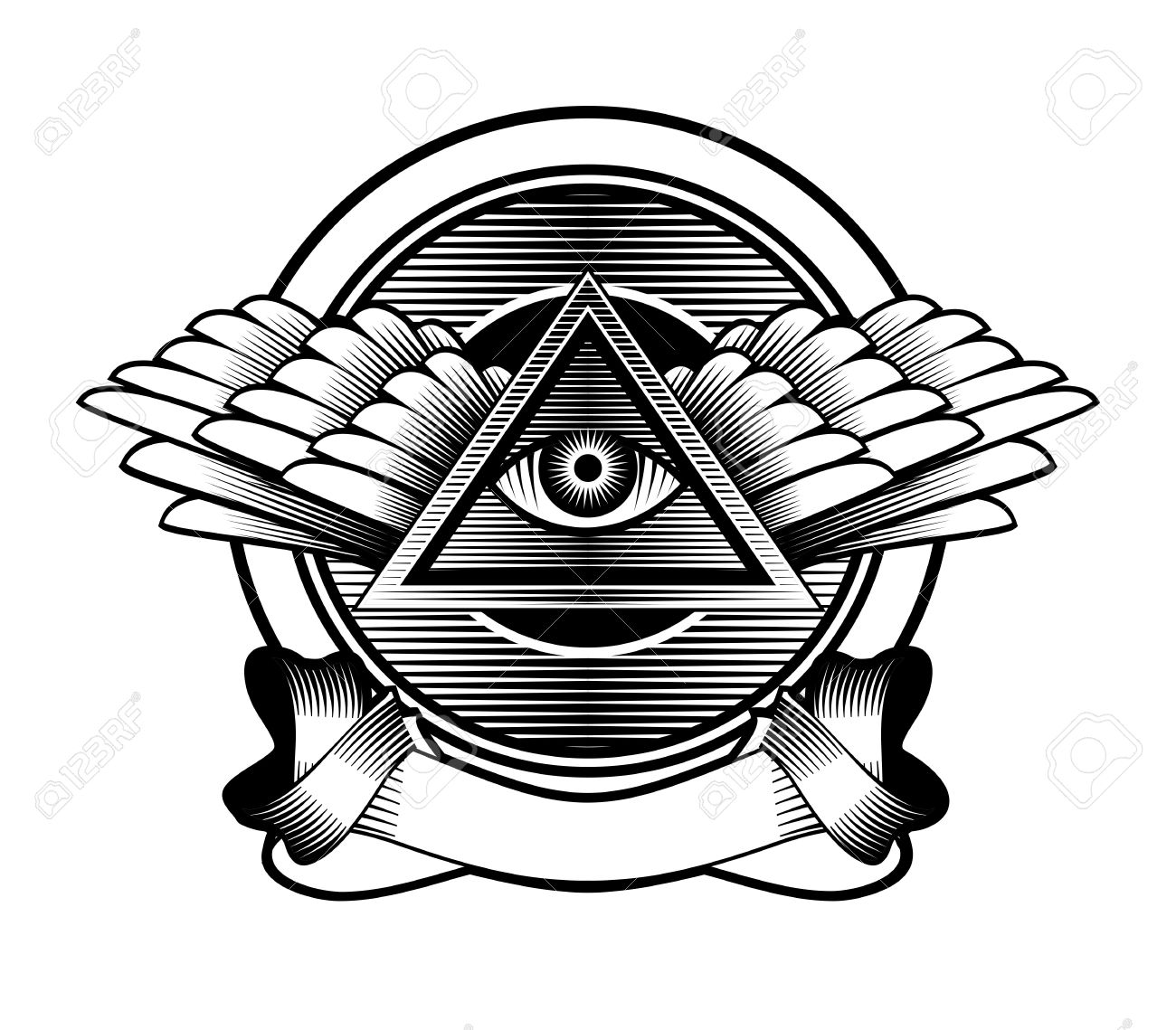 Illustration Poster Design Element Egyptian Symbol Eye In A Triangle