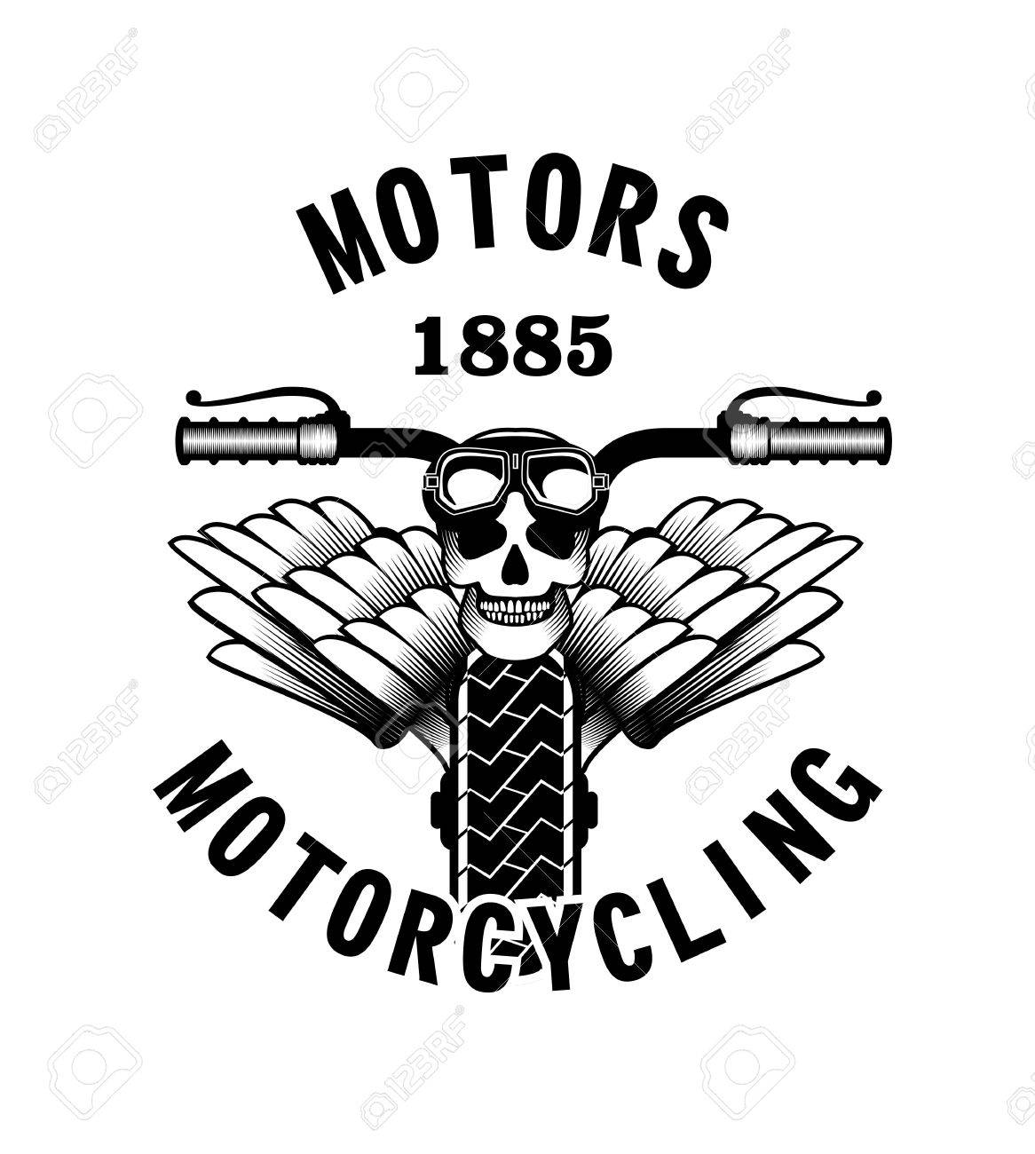vector emblem retro motorcycle in the ste unk style on a white  vector vector emblem retro motorcycle in the ste unk style on a white background