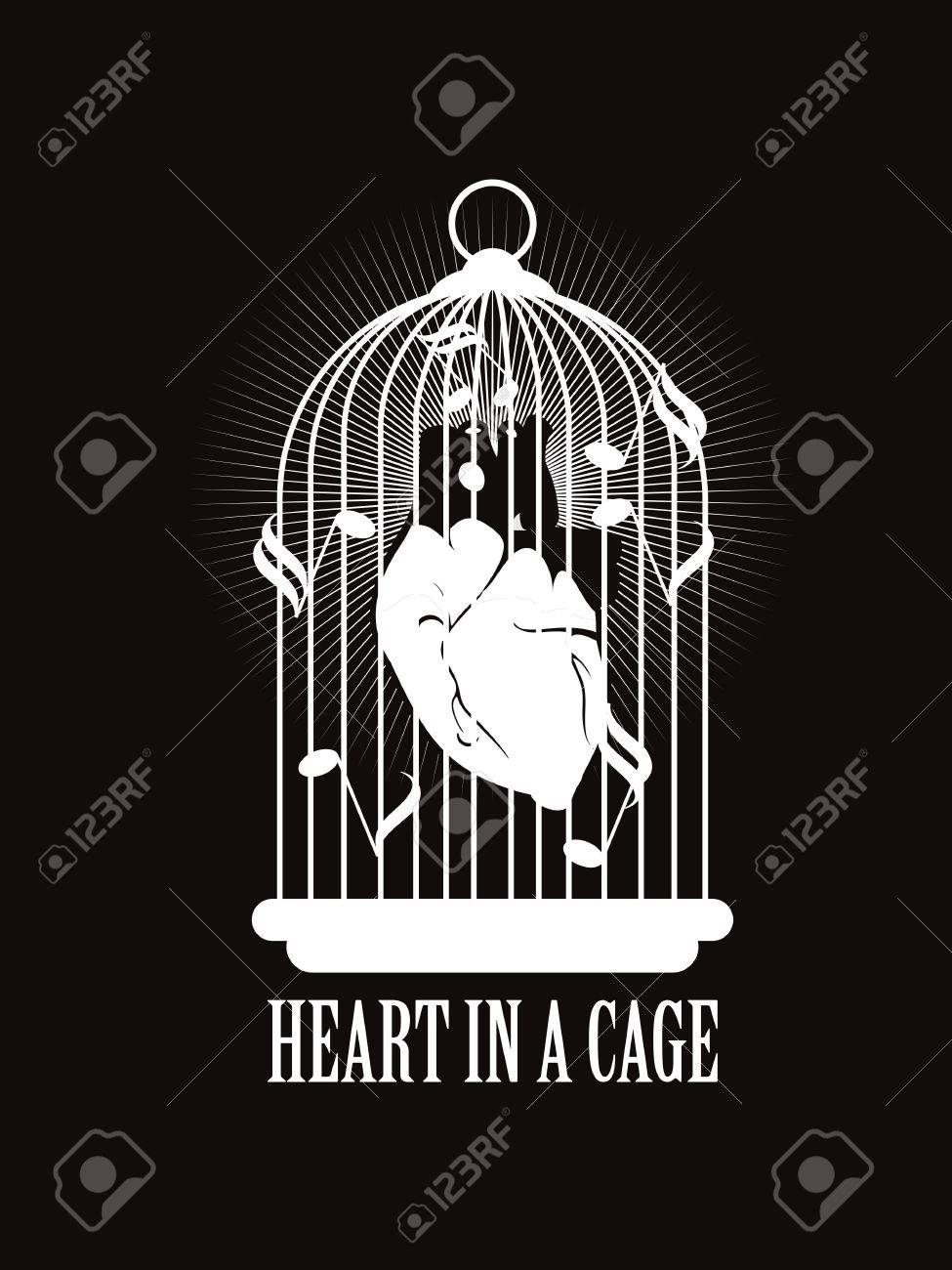 Vector Illustration Of The Human Heart Is Tied With Barbed Wire ...
