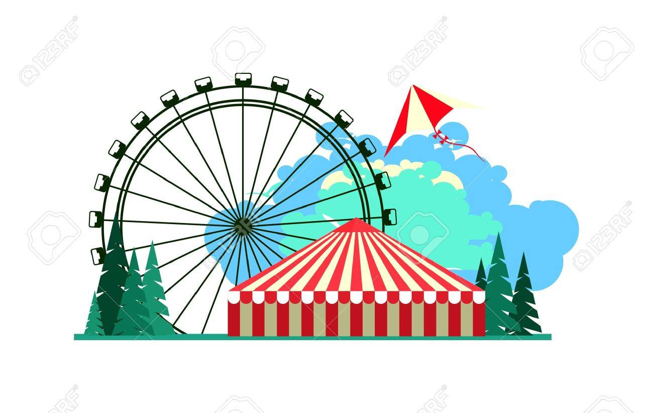 vector illustration poster amusement park rides and a carnival tent Stock Vector - 49461611  sc 1 st  123RF.com & Vector Illustration Poster Amusement Park Rides And A Carnival ...