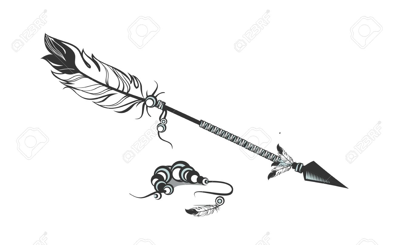 Line Drawing Feather : Vector illustration one arrow decorated with feathers and beads