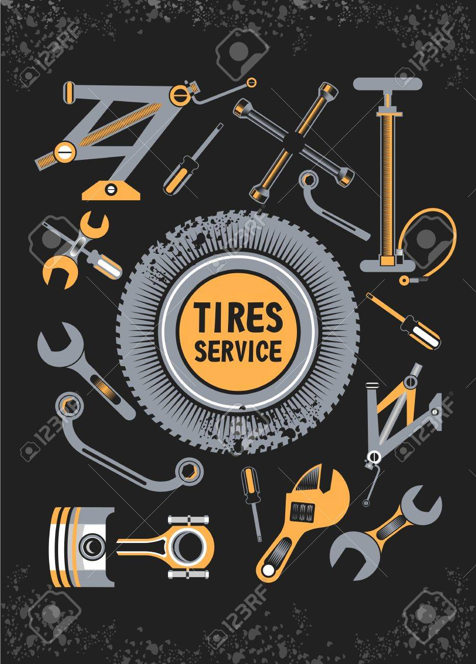 Vector Set Of Tools And Spare Parts Of The Car The Name Of The