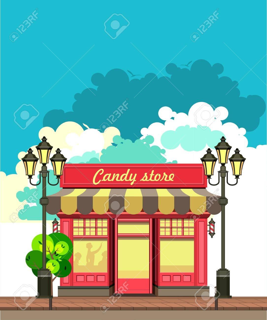ベクトル イラスト街小さな駄菓子屋 写真素材 , 52616968