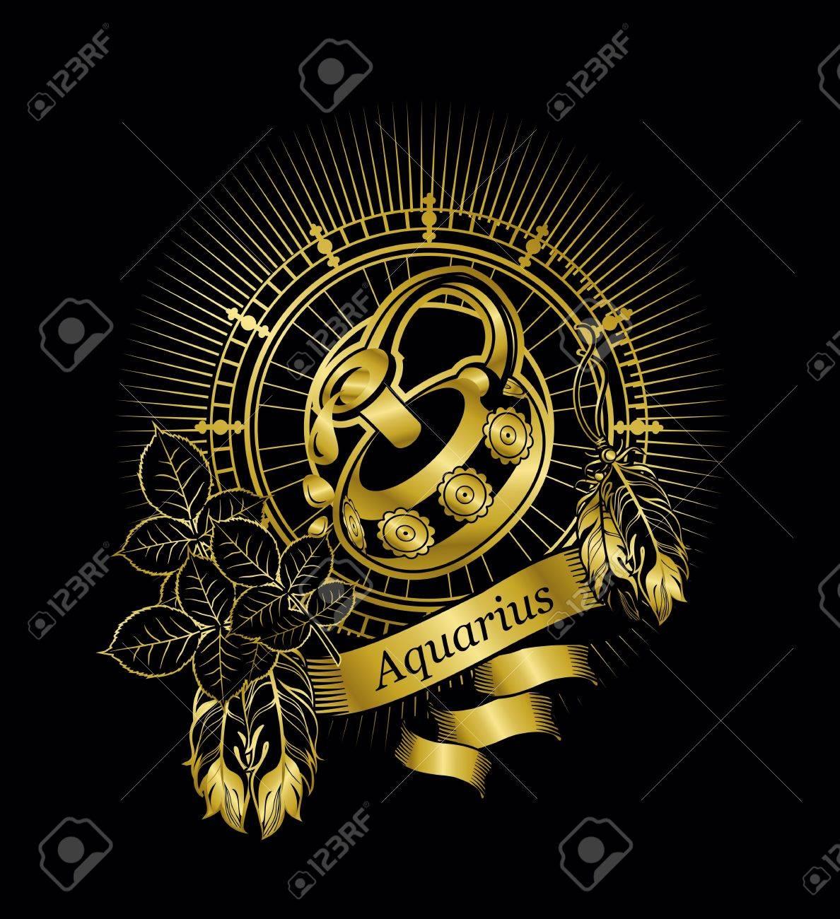 vector illustration zodiac sign Aquarius emblem vintage frame